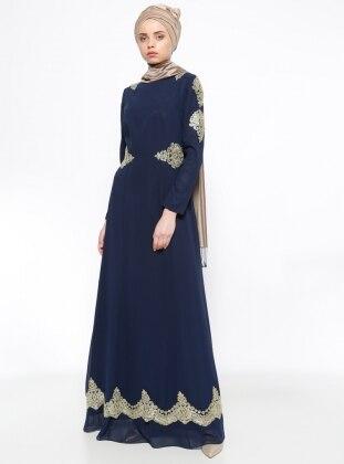 Güpürlü Abiye Elbise - Lacivert