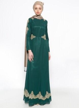 Güpürlü Abiye Elbise - Yeşil