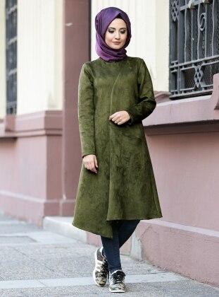 Roza Süet Tunik - Yeşil