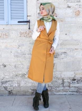 Sara Keçe Yelek - Hardal