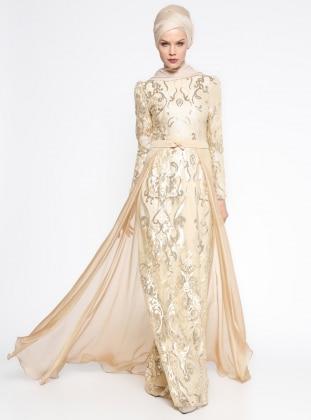 Payetli Abiye Elbise - Gold