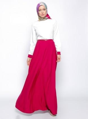 Kemerli Elbise - Fuşya