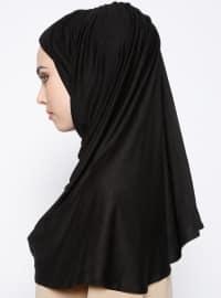 Black - Plain - Cotton - Combed Cotton - Instant Scarf