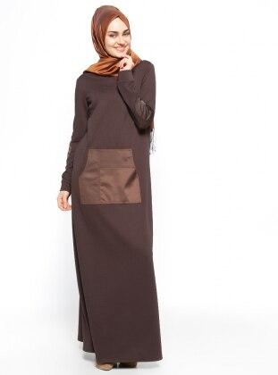 Cep Detaylı Elbise - Kahve