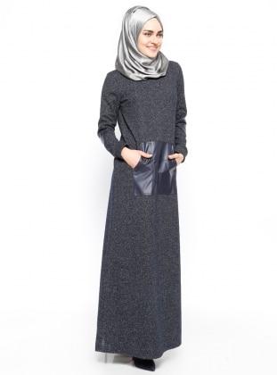 Cep Detaylı Elbise - Lacivert