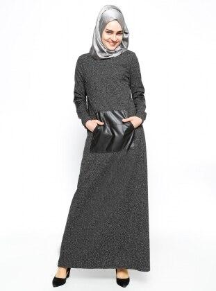 Cep Detaylı Elbise - Siyah