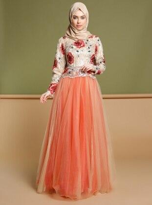 Puane Dantelli Abiye Elbise - Kırmızı
