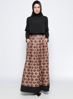 Etrucci Desenli Elbise - Siyah