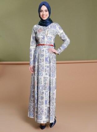 Desenli Elbise - Lacivert Ekru