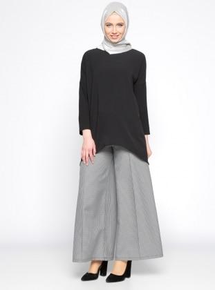 Desenli Geniş Paça Pantolon - Siyah Beyaz