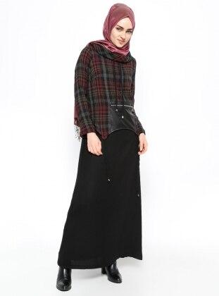 Ekoseli Elbise - Siyah