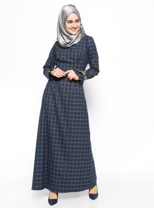 Kare Desenli Elbise - Lacivert
