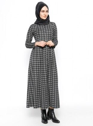 Etrucci Kazayağı Desenli Elbise - Siyah Gri