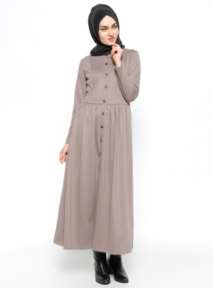 Düğmeli Elbise - Vizon Etrucci