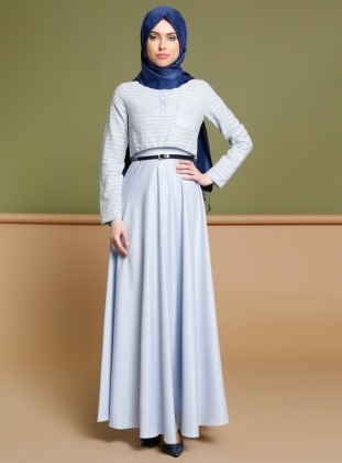 Kemerli Elbise - Mavi