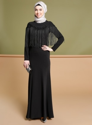 Püskül Detaylı Abiye Elbise - Siyah Puane