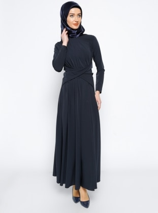 Beli Detaylı Elbise - Lacivert Mileny