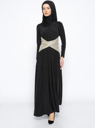 Beli Detaylı Elbise - Siyah Gold