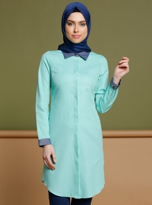 Green - Point Collar - Tunic - Puane 265857