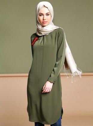 Green - Polo neck - Tunic - Puane 266124