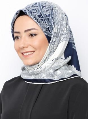 Rayon Eşarp - Lacivert Krem Gülsoy
