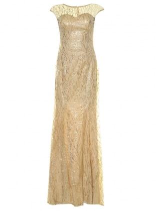 Simli Balık Abiye Elbise - Gold