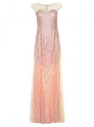 Simli Balık Abiye Elbise - Pembe