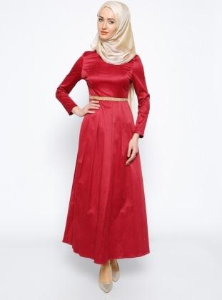Mileny Taş Detaylı Elbise - Bordo
