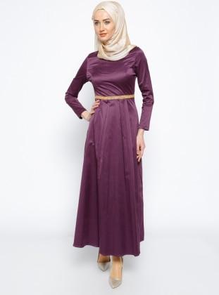Taş Detaylı Elbise - Mürdüm Mileny