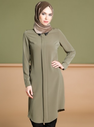 Green - Point Collar - Tunic - Puane 266117