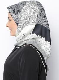 Black - Ecru - Printed - Rayon - Scarf