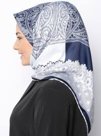 White - Navy Blue - Printed - Rayon - Scarf