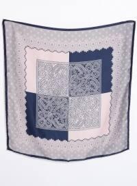 Navy Blue - Pink - Printed - Rayon - Scarf