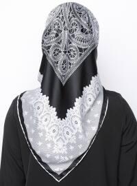 Black - White - Printed - Rayon - Scarf