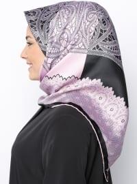 Black - Pink - Printed - Rayon - Scarf