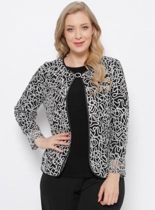 Ceket & Bluz İkili Takım - Siyah Gümüş