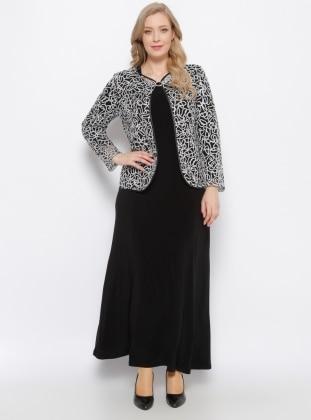 Ceket & Elbise İkili Takım - Siyah Gümüş