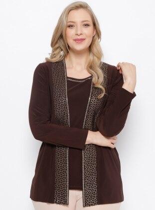 Ceket & Kolsuz Bluz İkili Takım - Kahve Arıkan