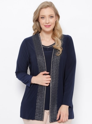 Navy Blue - Crew neck - Unlined - Plus Size Suit