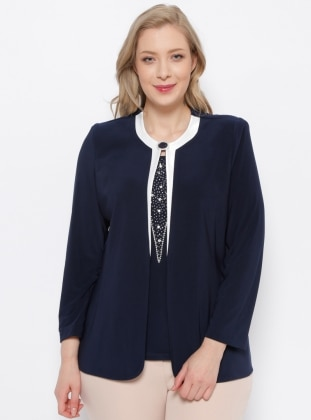 Ceket & Kolsuz Bluz İkili Takım - Lacivert