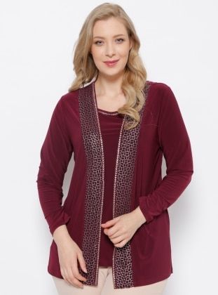 Crew neck - Maroon - Purple - Unlined - Plus Size Suit