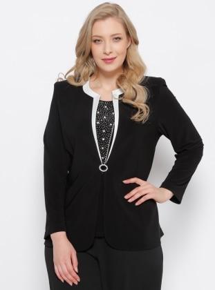 Arıkan Ceket & Kolsuz Bluz İkili Takım - Siyah