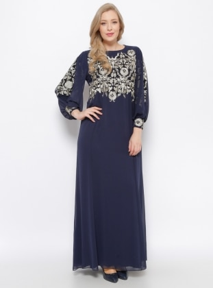 Navy Blue - Navy Blue - Fully Lined - Crew neck - Muslim Plus Size Evening Dress
