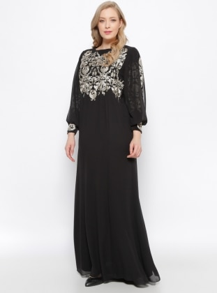 Black - Black - Fully Lined - Crew neck - Muslim Plus Size Evening Dress