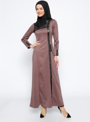 Deri Detaylı Elbise - Gül Kurusu
