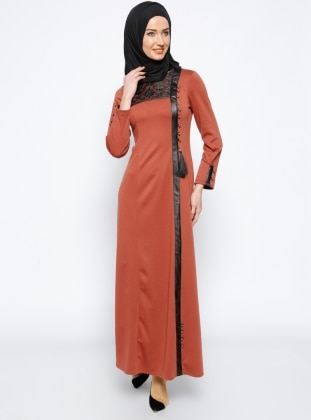 Deri Detaylı Elbise - Kiremit Mileny