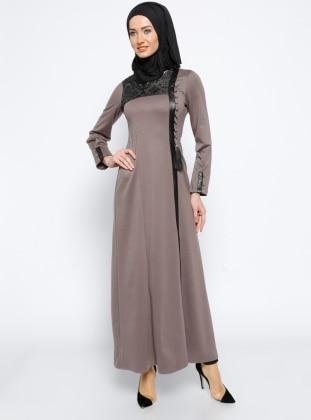 Deri Detaylı Elbise - Vizon