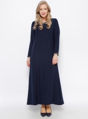 Taş Detaylı Elbise - Lacivert