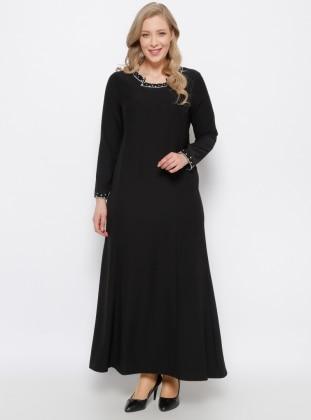 Arıkan Taş Detaylı Elbise - Siyah