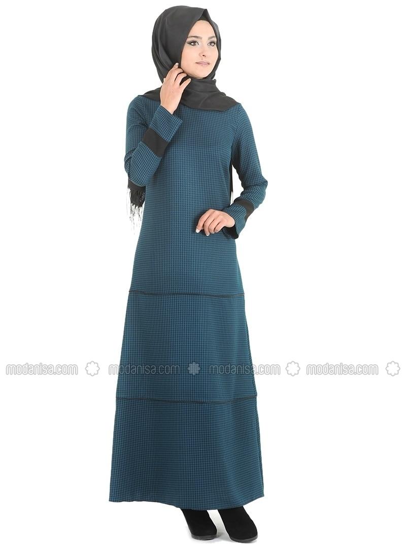 34bac862c932 Mit Innenfutter - Rundhalsausschnitt - Kariert - Petrol - Baumwolle - Hijab  Kleid - Ecmel Verde